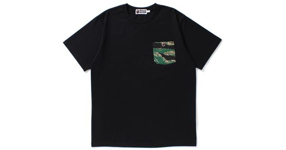 abf5a04a7 Lyst - A Bathing Ape Tiger Camo Pocket Ape Head Tee Black in Black for Men