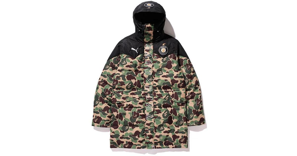7dc4eab3f95c Lyst - A Bathing Ape X Puma Abc Camo Long Down Puffer Jacket Green in Green  for Men