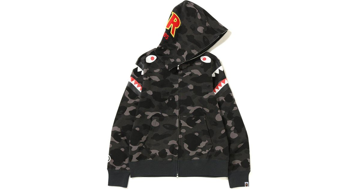 46756bf9 A Bathing Ape Color Camo Double Shark Full Zip Hoodie Black in Black for  Men - Lyst