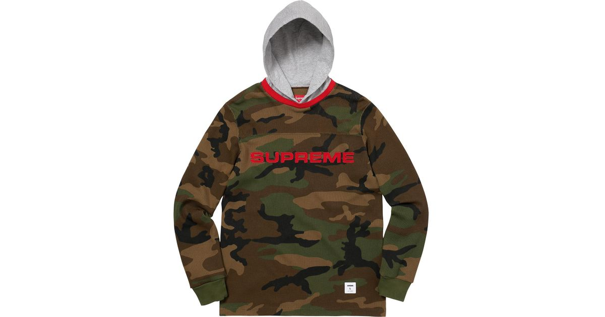 0a5c5dab Supreme Hooded Waffle Ringer Woodland Camo in Green for Men - Lyst