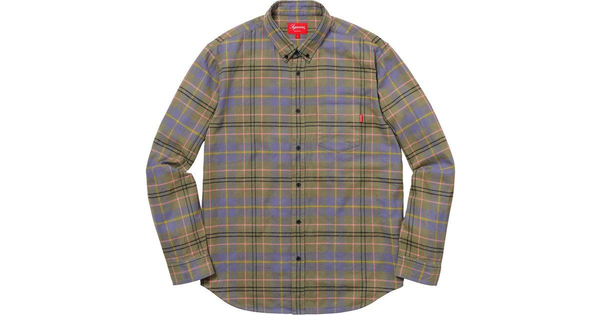 55cfae74d3c Lyst - Supreme Tartan Flannel Shirt Light Olive in Green for Men