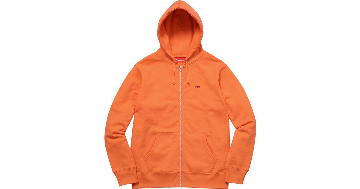 4b1fcab250d1 Lyst - Supreme Small Box Zip Up Sweatshirt Bright Orange in Orange for Men