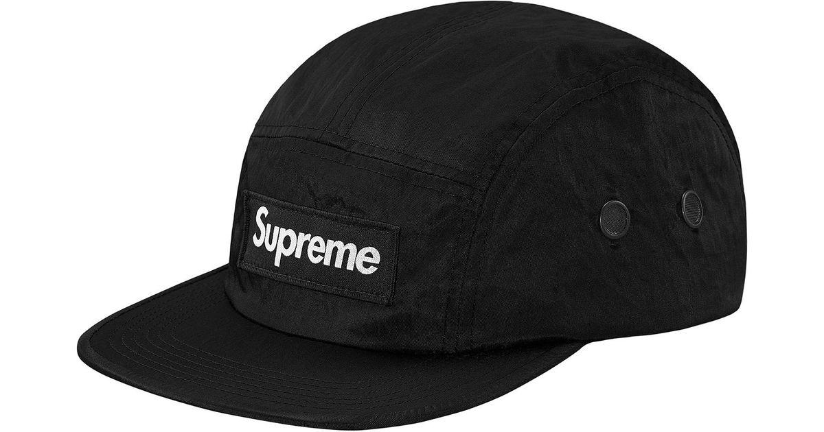 a22e11f891d Lyst - Supreme Washed Nylon Camp Cap Black in Black for Men