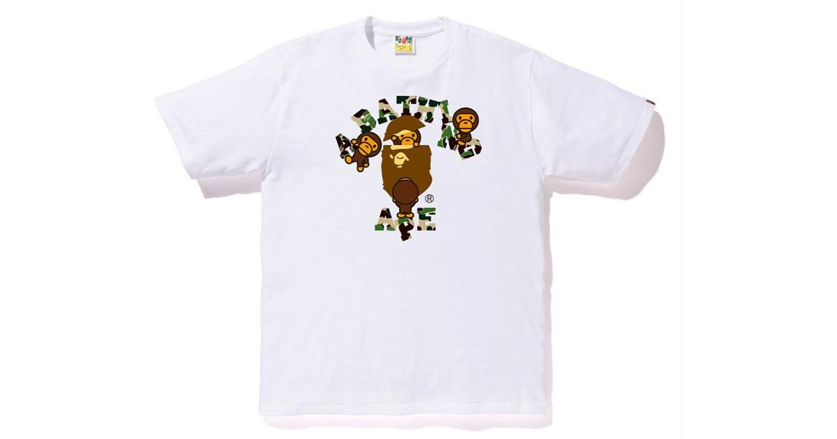 9db5c1db A Bathing Ape Abc College Milo Tee White/green in White for Men - Lyst