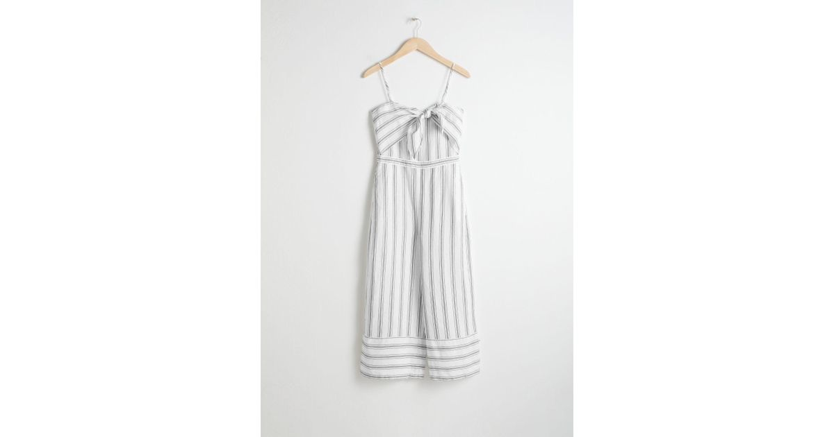 d4dc5492ae   Other Stories Linen Blend Tie Up Jumpsuit in White - Lyst