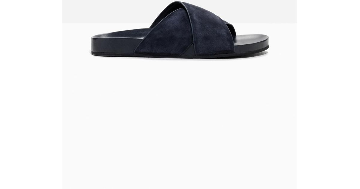 8959b8cab Lyst -   Other Stories Wide Strap Suede Slides in Blue - Save 49%