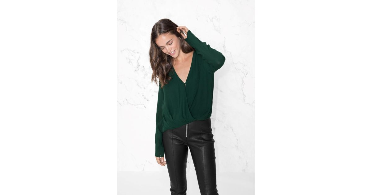3be13973a80af Lyst -   Other Stories Wrap-effect Blouse in Green - Save 49%