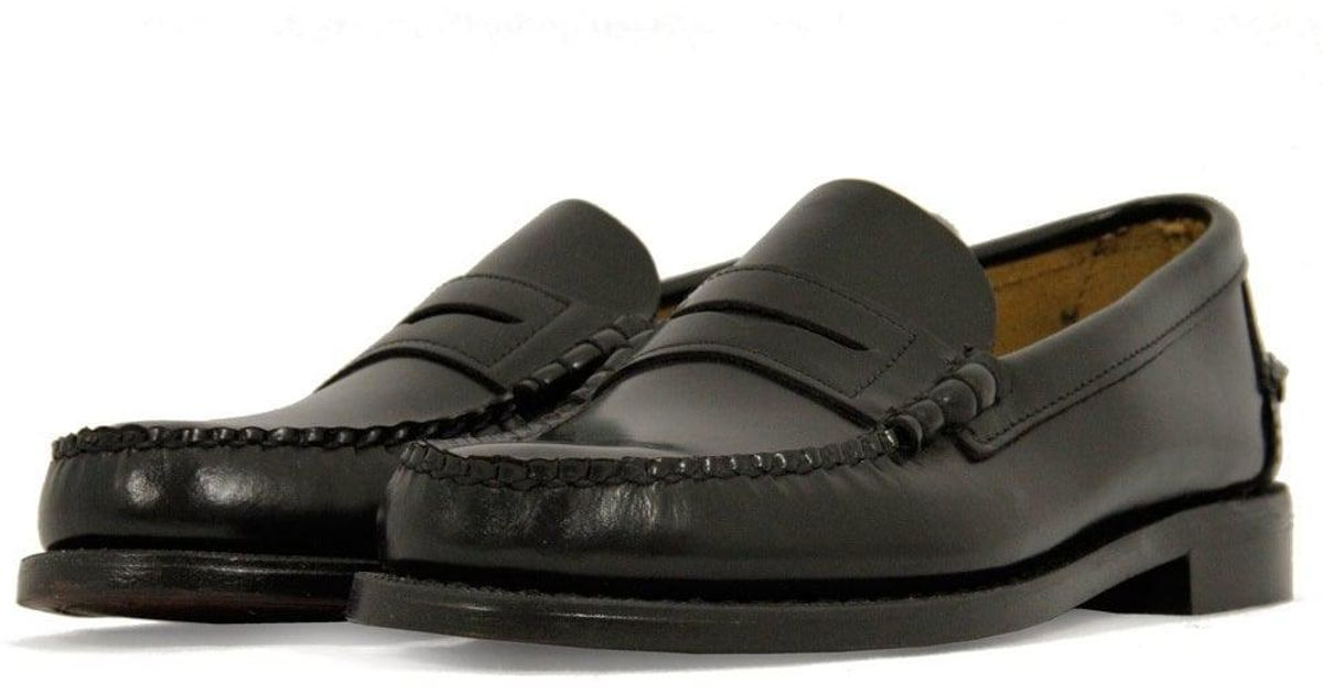 sebago classic black leather loafer shoe in black for
