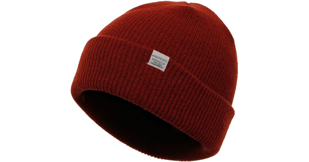 3a963cc7b16 Lyst - Norse Projects Red Clay Beanie for Men