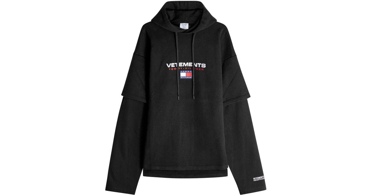 09c55395d Vetements X Tommy Hilfiger Cotton Hoody in Black - Lyst
