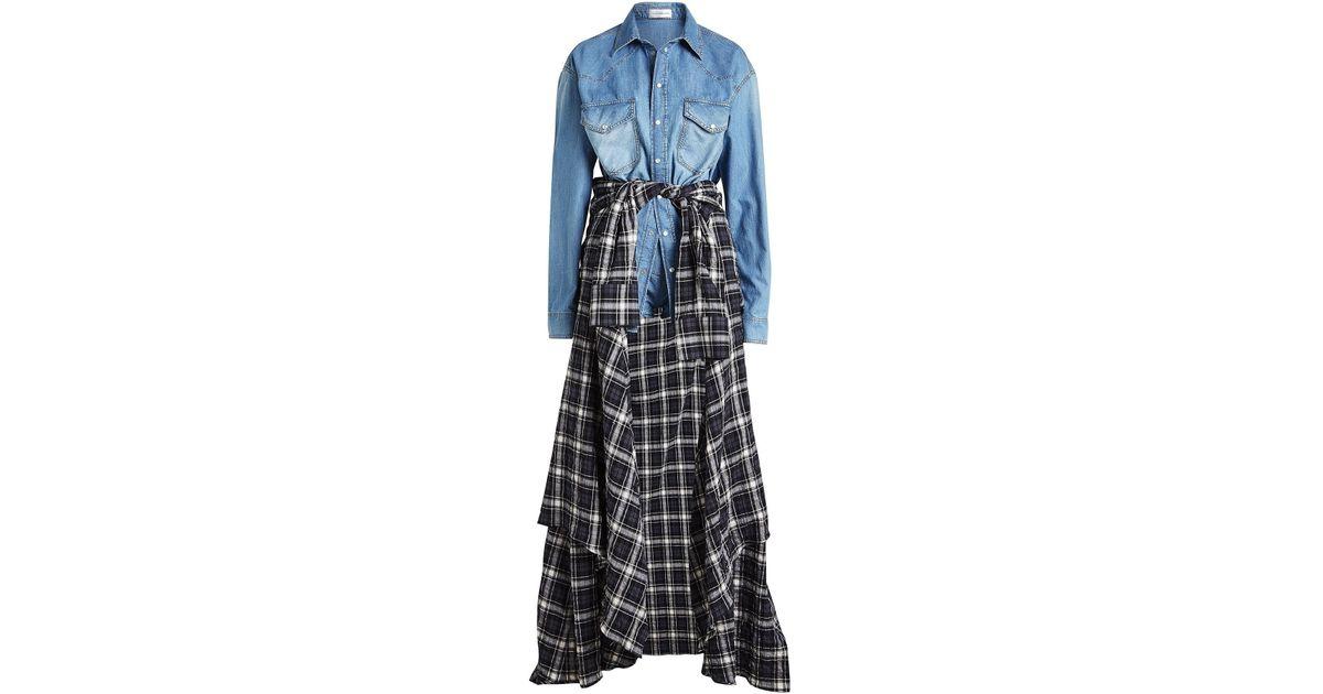 e253dd641fe0 Lyst - Faith Connexion Denim Playsuit With Plaid Shirt in Blue
