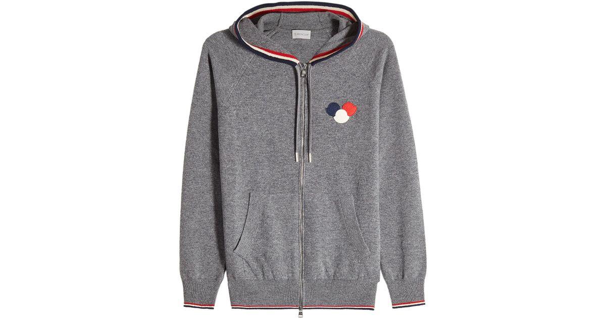 Lyst - Sweat zippé à capuche en laine vierge Moncler pour homme en coloris  Gris 7167a609fab