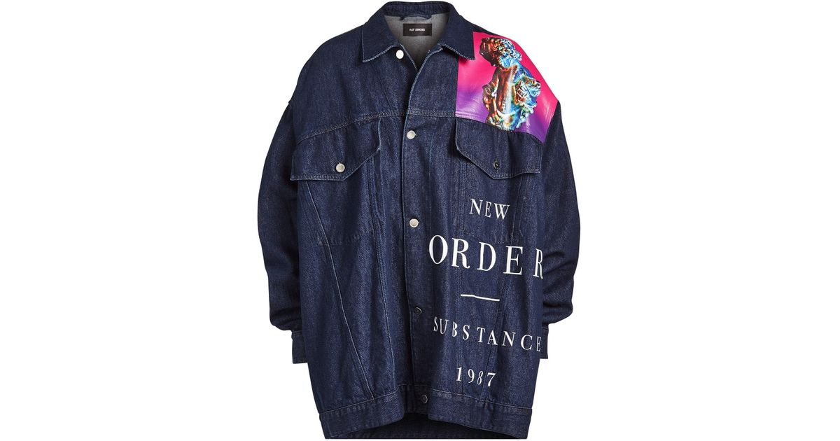 8e9136ec484 Lyst - Raf Simons Oversized Denim Jacket in Blue for Men