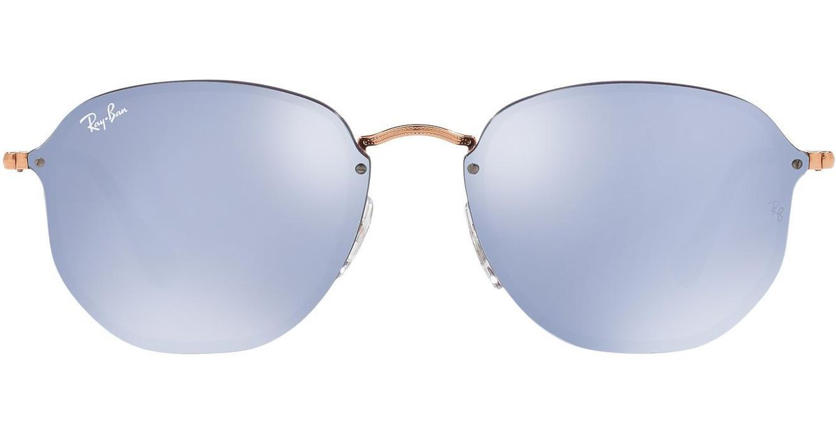 8e993c57f8 Lyst - Ray-Ban Rb3579n Blaze Hexagonal Flat Lens in Metallic
