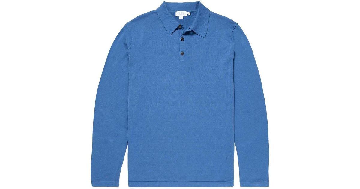 18604dce Sunspel Men's Sea Island Cotton Knit Long Sleeve Polo In Mid Indigo in Blue  for Men - Lyst