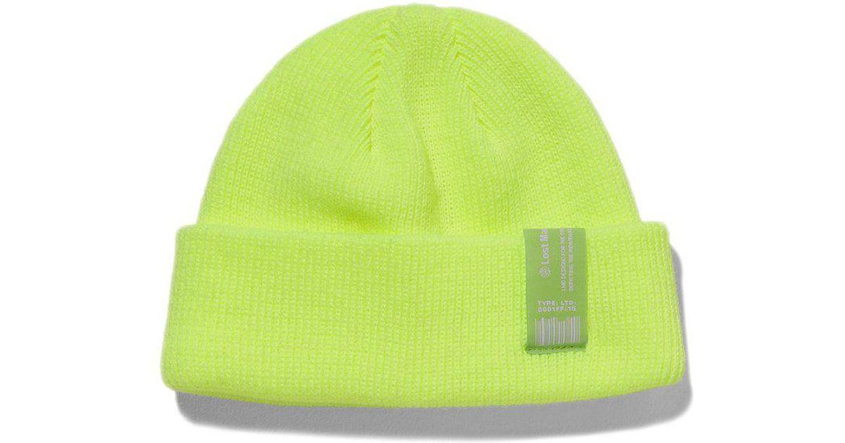 de86f25949d57 Lyst - Liful Lmc Pnt Label Beanie Neon Green in Green for Men