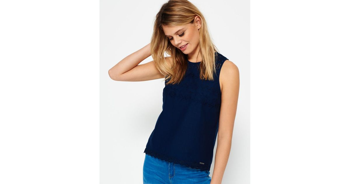 2477a83a045d Lyst - Superdry Broderie Shell Top in Blue