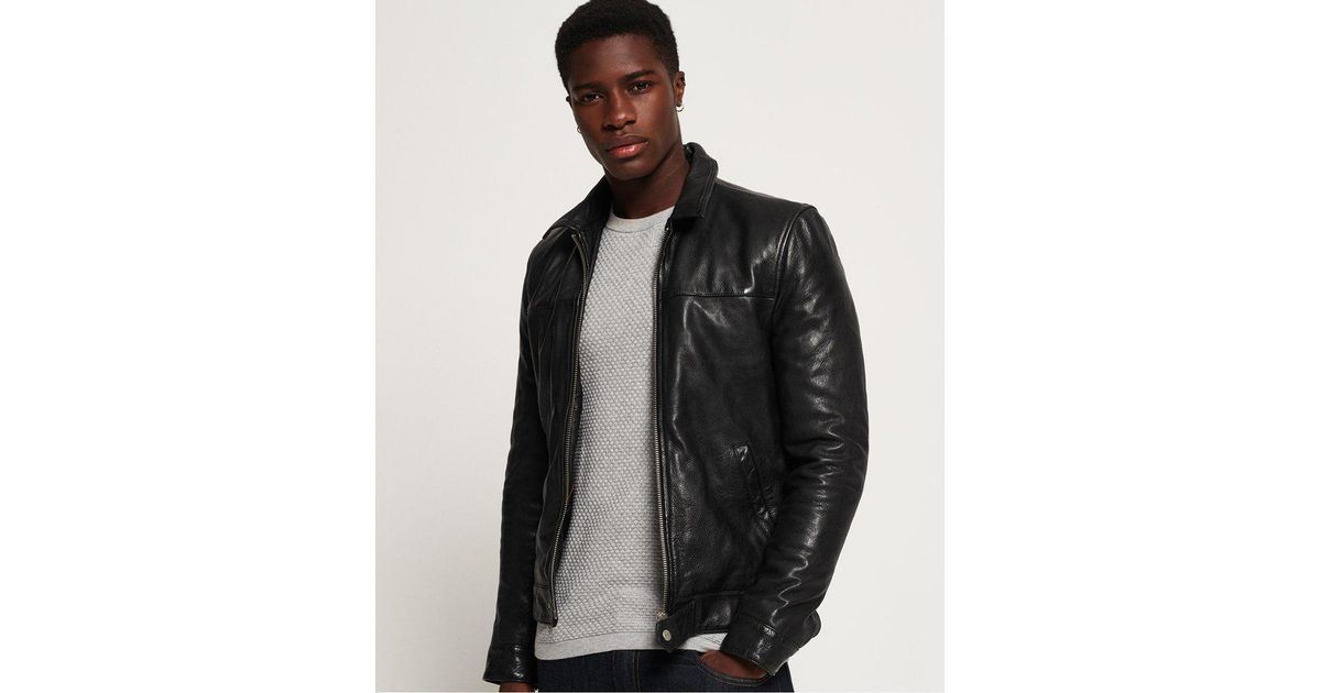 f04f4f4b19bc Superdry Premium Indiana Leather Jacket in Black for Men - Lyst