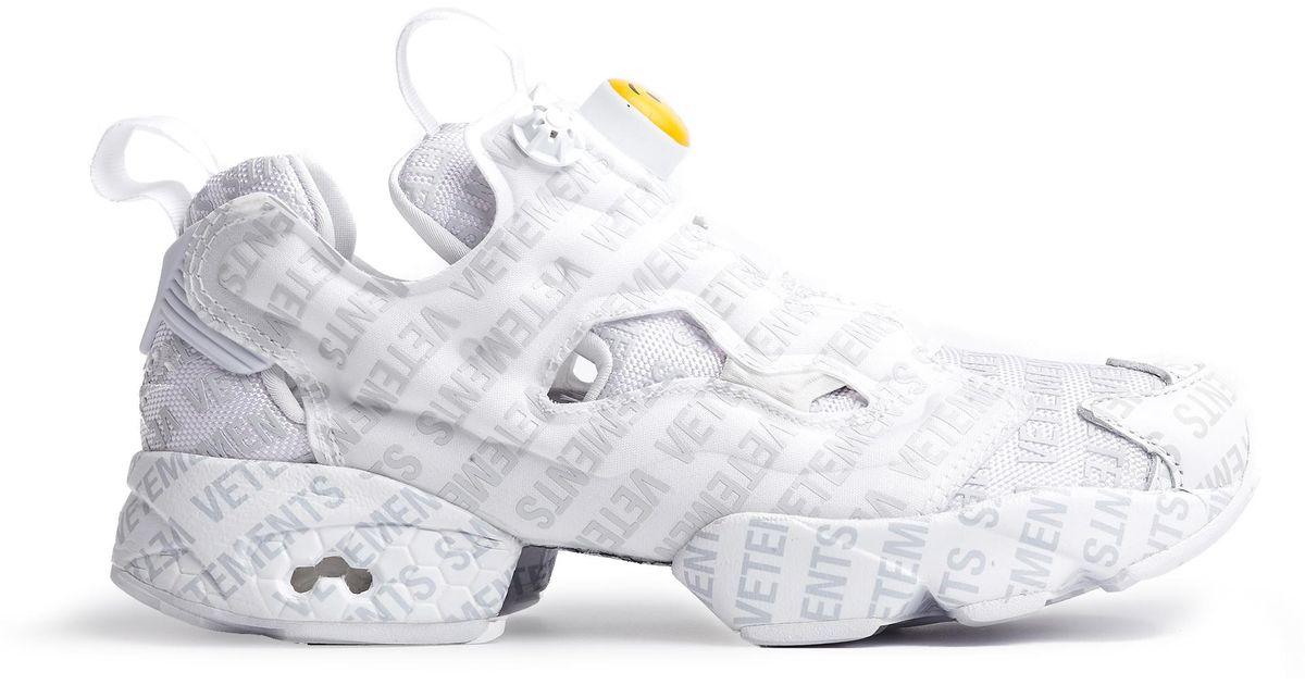 9e2efc78e16 Lyst - Vetements Reebok Logo Instapump Fury Sneakers in White for Men -  Save 56%