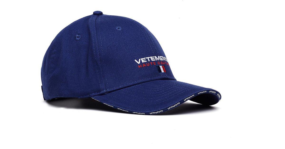 0fa955175bd Lyst - Vetements Navy Blue Haute Couture Cap in Blue