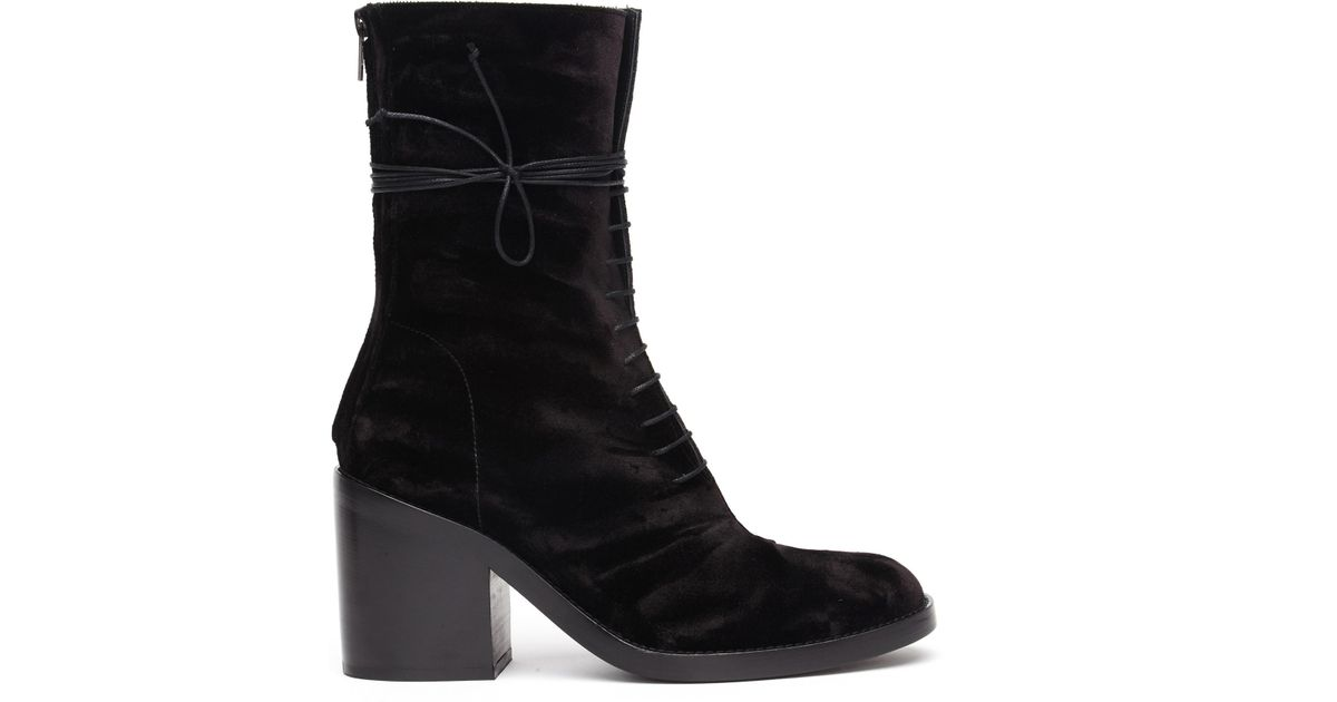 Free Shipping Low Shipping Fee ANN DEMEULEMEESTER Velvet Heeled Boots Free Shipping Browse RxgqSrP1
