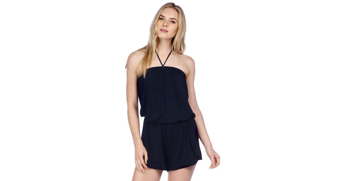 1b1098d0672f Lyst - Lucky Brand Catalina Sunset Dolphin Hem Halter Romper Swim Cover Up  in Blue