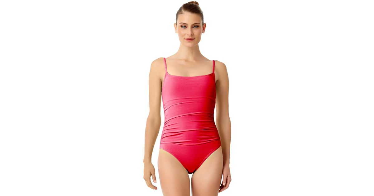55cf6f1b28b Anne Cole Live In Color Shirred Lingerie Maillot One Piece Swimsuit in Red  - Lyst