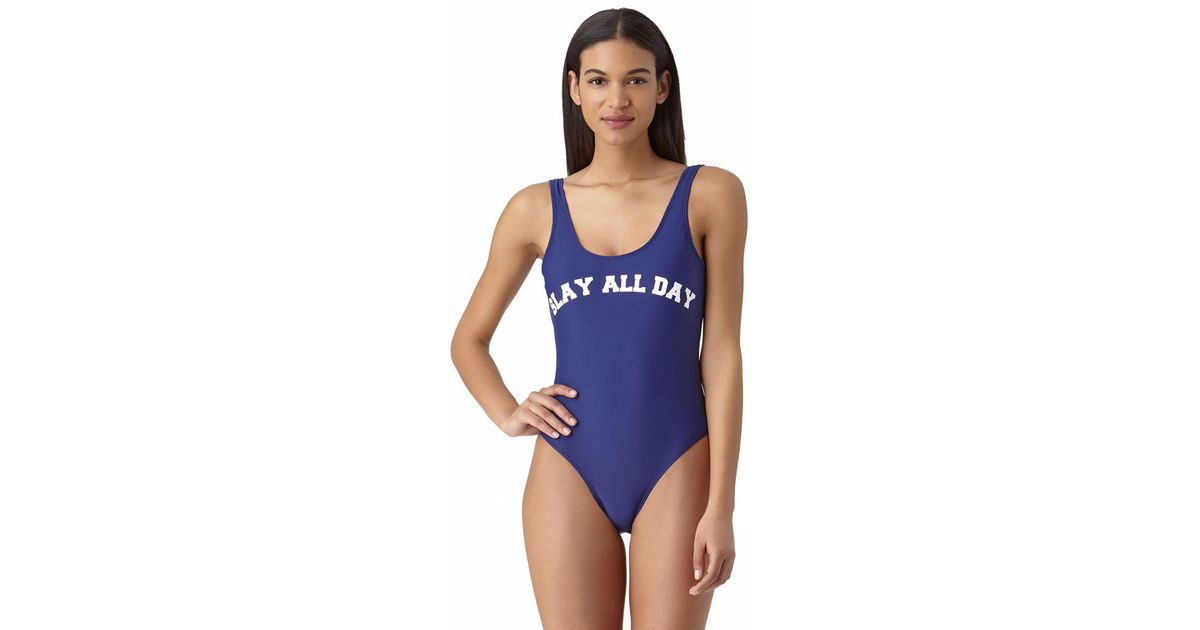 29c3fd0bdcbd7 Lyst - InMocean Slay All Day Over The Shoulder Slogan One Piece Swimsuit in  Blue