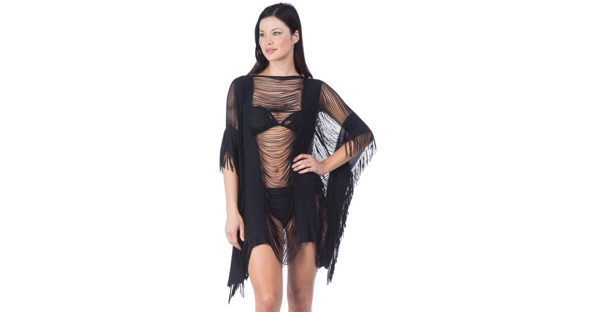 0d84b51ad6 Kenneth Cole Sassy Fringe Tunic Swim Cover Up-one Size-black in Black - Lyst