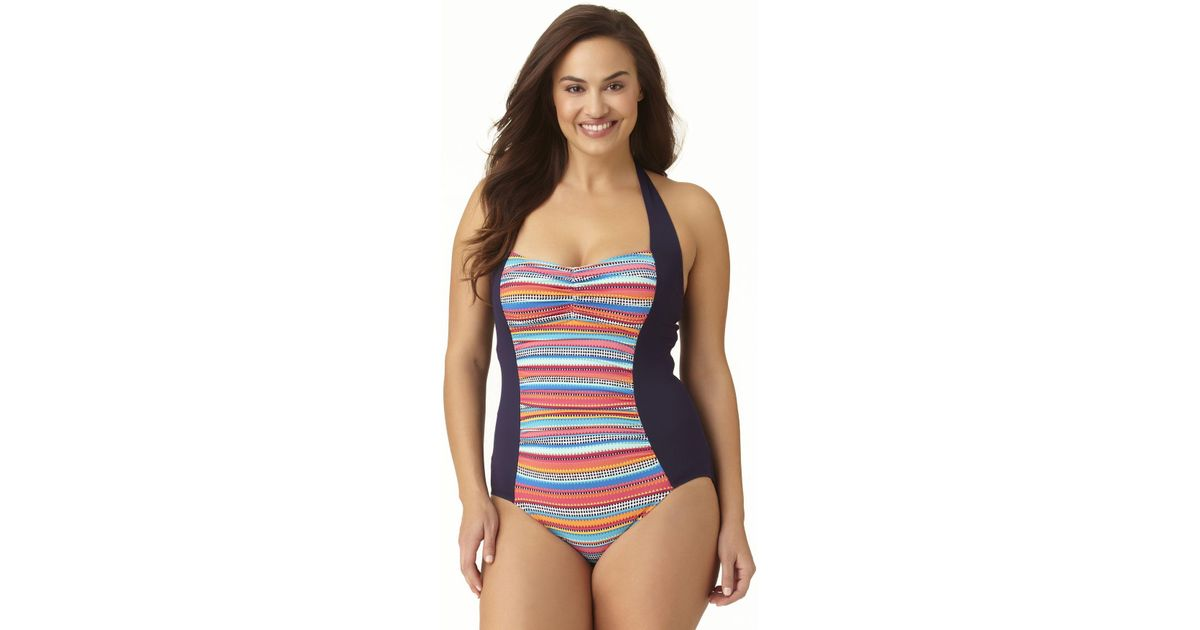 c90f1561536 Lyst - Anne Cole Plus Size Triangle Stripe Halter Side Splice Bandeau Tank One  Piece Swimsuit in Blue