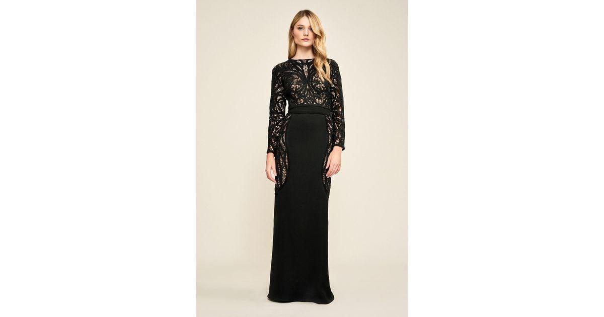 3ec0338113219 Tadashi Shoji Kimora Crochet-lace Motif Gown in Black - Lyst