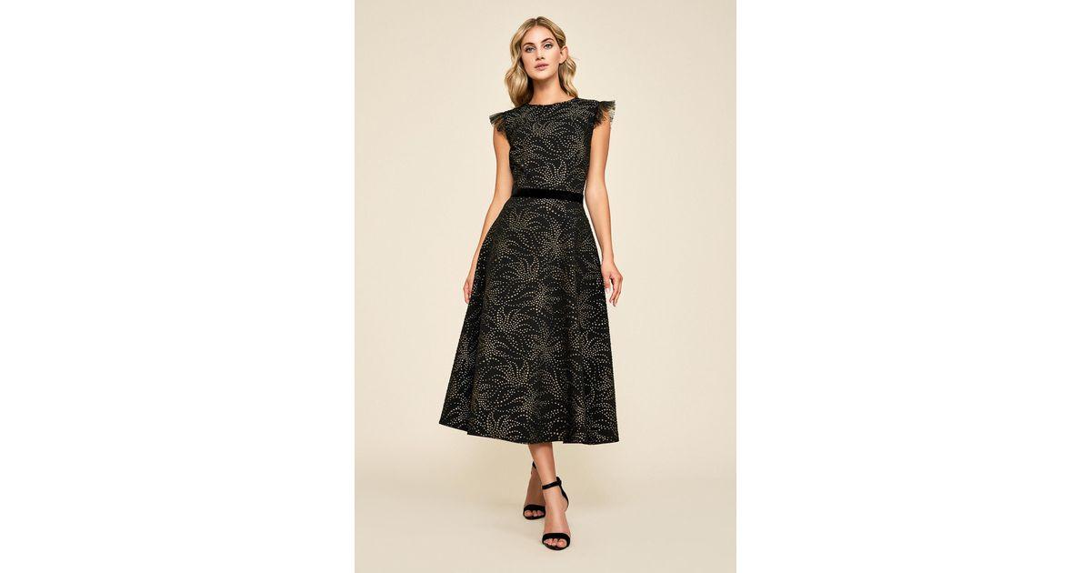 05c304da61868 Tadashi Shoji Laelia Droplet Jacquard Motif Dress in Black - Lyst
