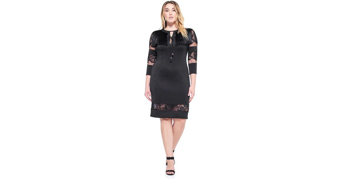 Tadashi Shoji - Black Corisande Fringe Dress - Plus Size - Lyst