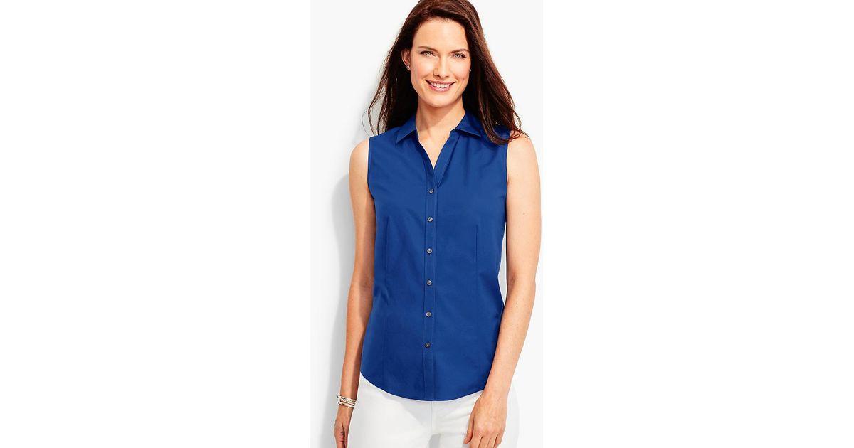 2859bae77760 Lyst - Talbots Sleeveless Wrinkle-resistant Shirt in Blue