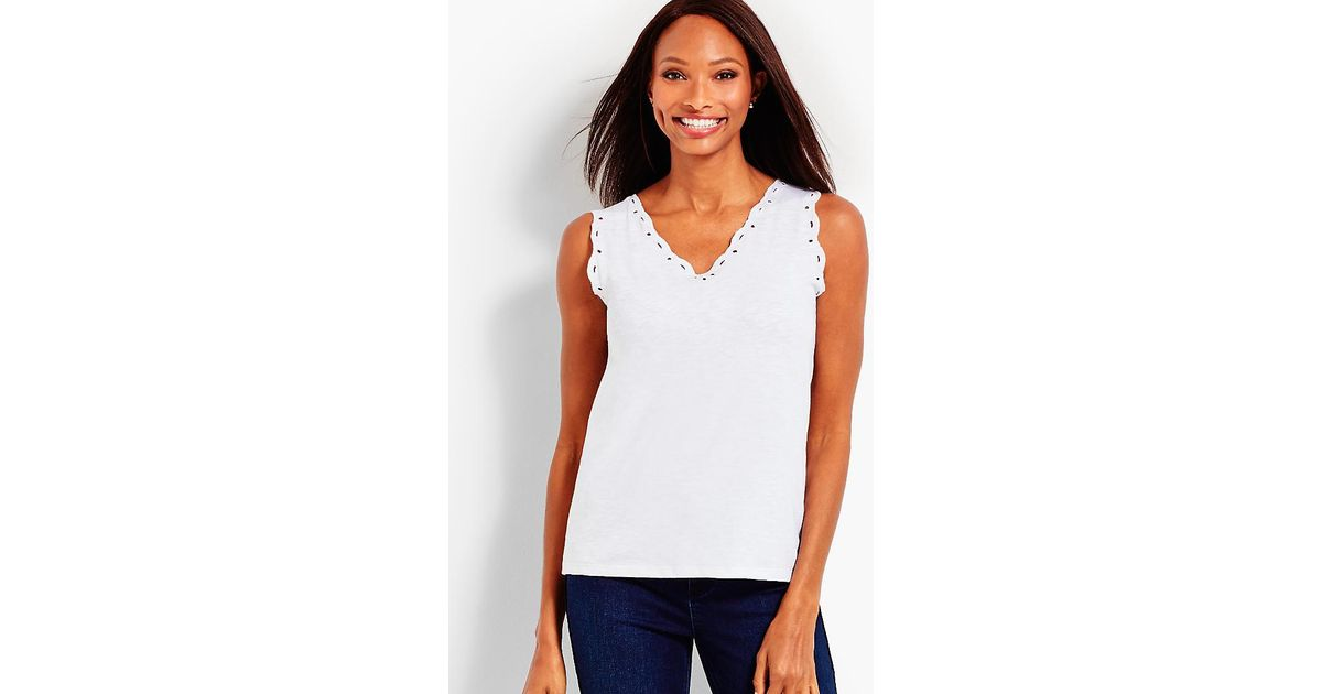 cc67b770d8e526 Lyst - Talbots Scallop Eyelet Trimmed Tank in White