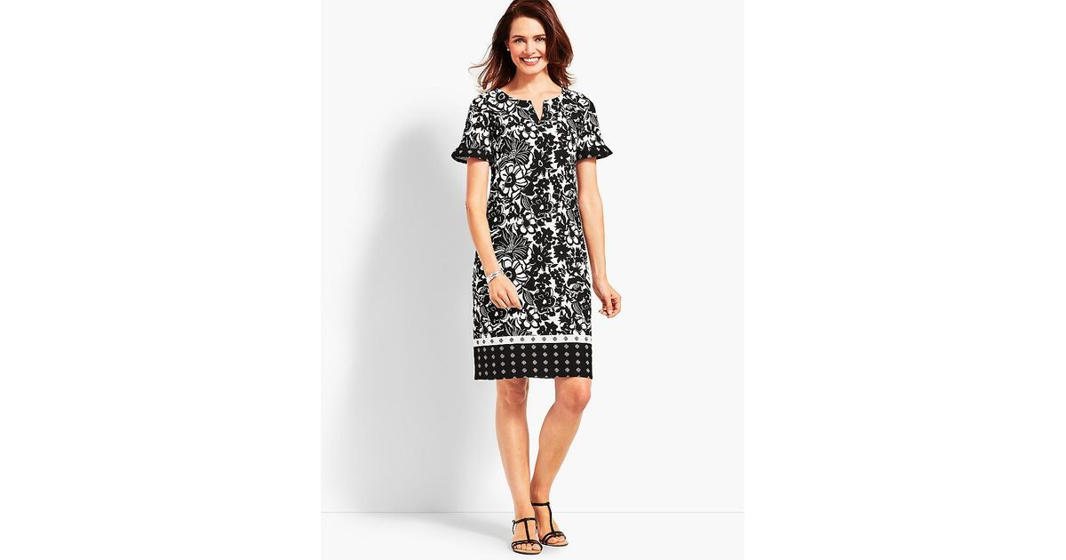 3dd69da82c8 Lyst - Talbots Abstract Floral Shift Dress in Black