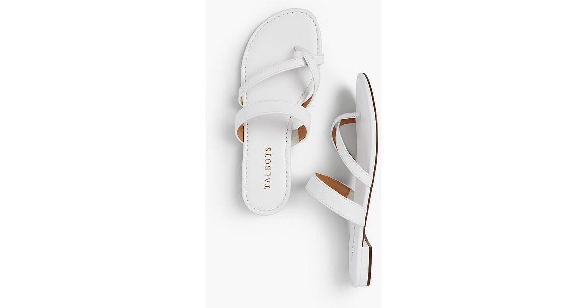 c505067f8 Lyst - Talbots Gia Toe-ring Sandals - Soft Nappa in White