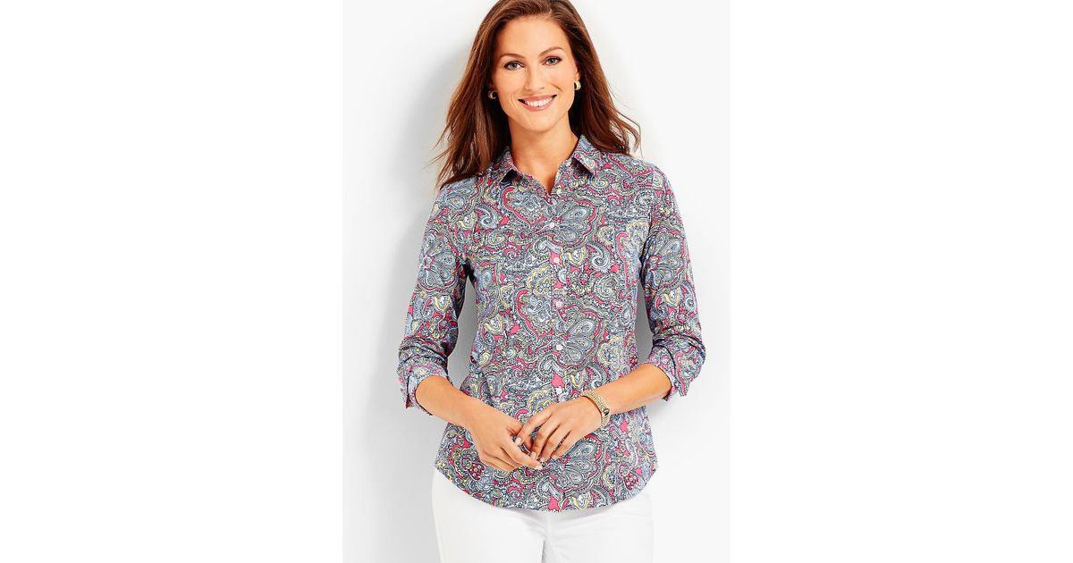 6c9d7d828 Talbots The Perfect Shirt - Resort Paisley in Gray - Lyst