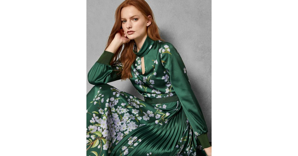 050f6cd6d Ted Baker Jhenni Floral Midi Dress in Green - Save 30% - Lyst