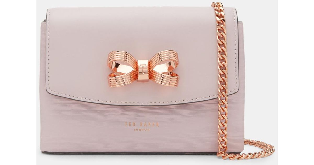 3da86ce91e80 Ted Baker Looped Bow Leather Cross Body Bag in Pink - Lyst