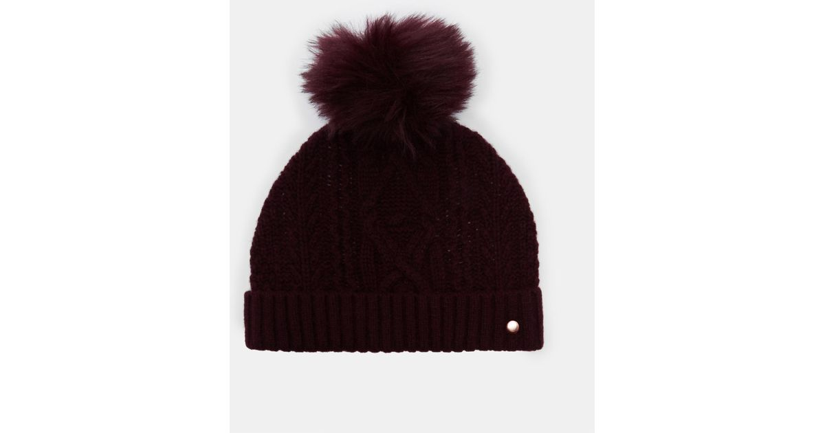 Lyst - Ted Baker Cable Knit Wool-blend Bobble Hat c7f39c2bf49