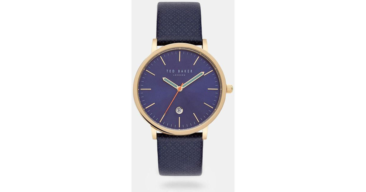 7165d4689eb9fd Lyst - Ted Baker Geo Print Leather Watch in Blue for Men