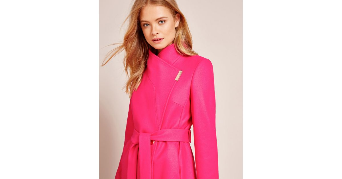 1247b94d1 Ted Baker Cashmere-blend Wrap Front Coat in Pink - Lyst
