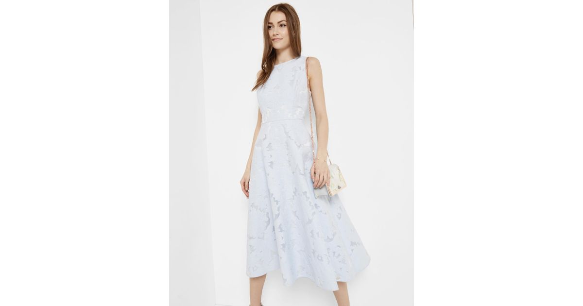 1bdb2de8b4550e Ted Baker Burnout Jacquard Midi Dress in Blue - Lyst