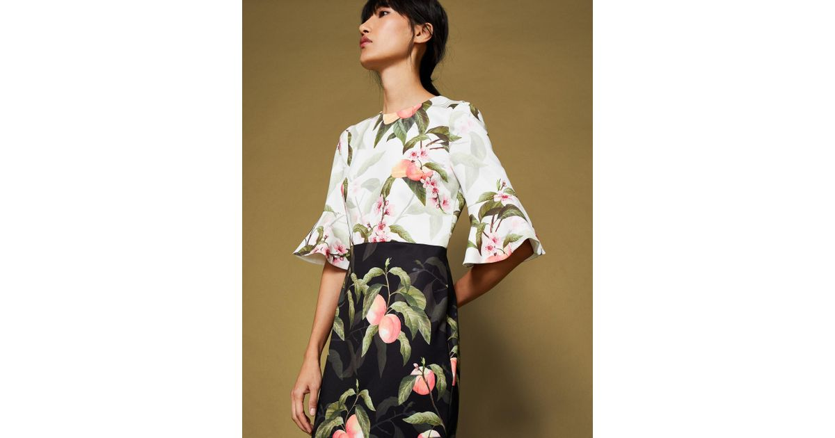 9b7410e5ed4 Ted Baker Areea Peach Blossom Fluted Sleeve Dress in Black - Save 56% - Lyst