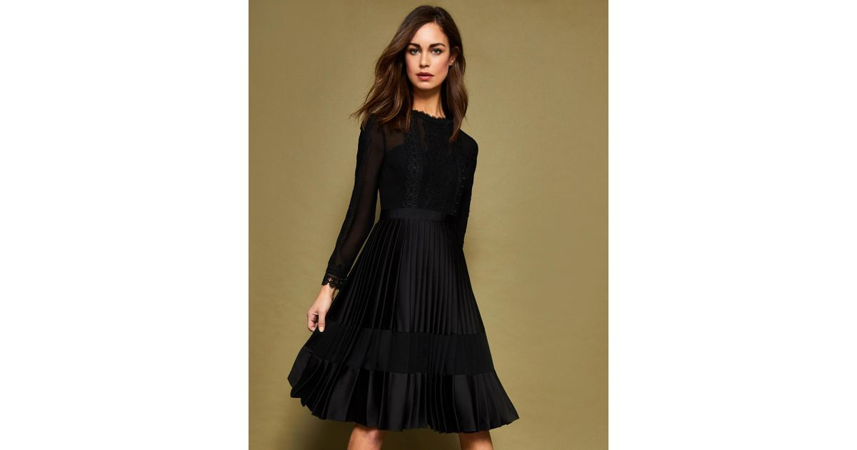 40cebc260c0 Ted Baker Looez Lace Trim Pleated Midi Dress in Black - Lyst