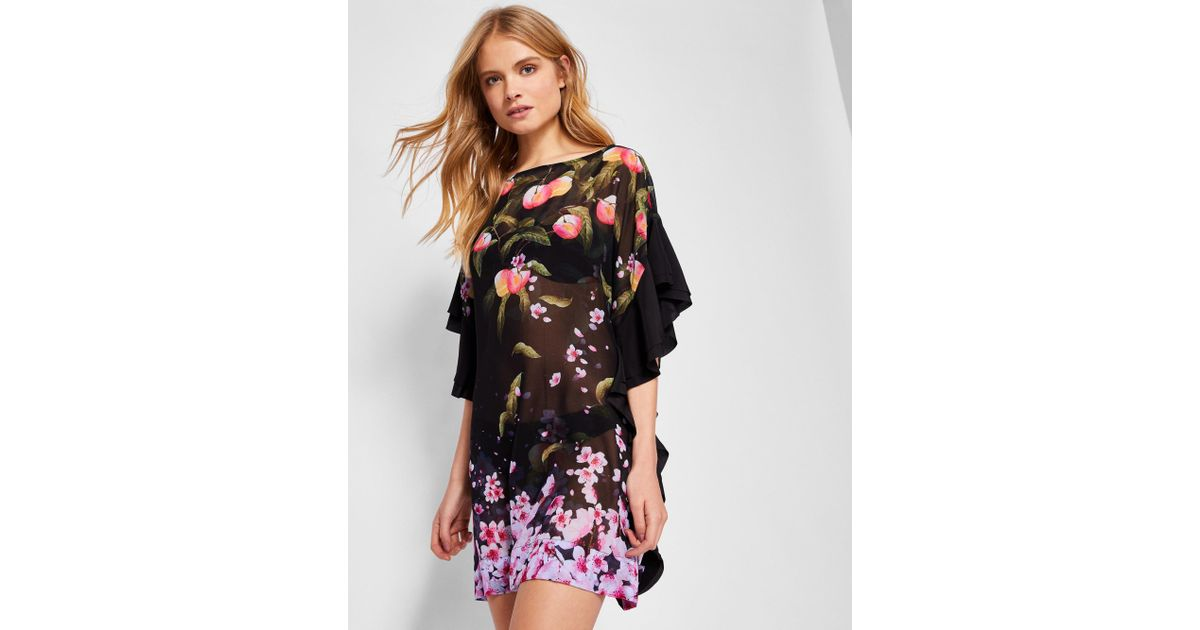 04fe0d65f Ted Baker Peach Blossom Square Cover-up in Black - Lyst