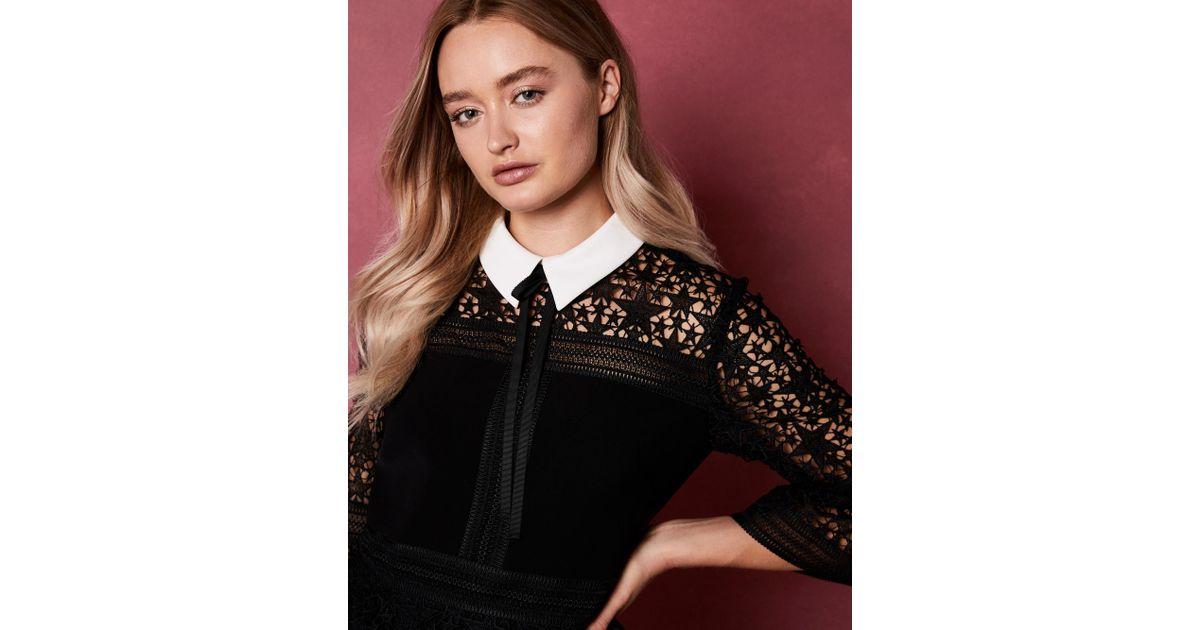 5399786ef570 Lyst - Ted Baker Star Lace Ruffle Dress in Black