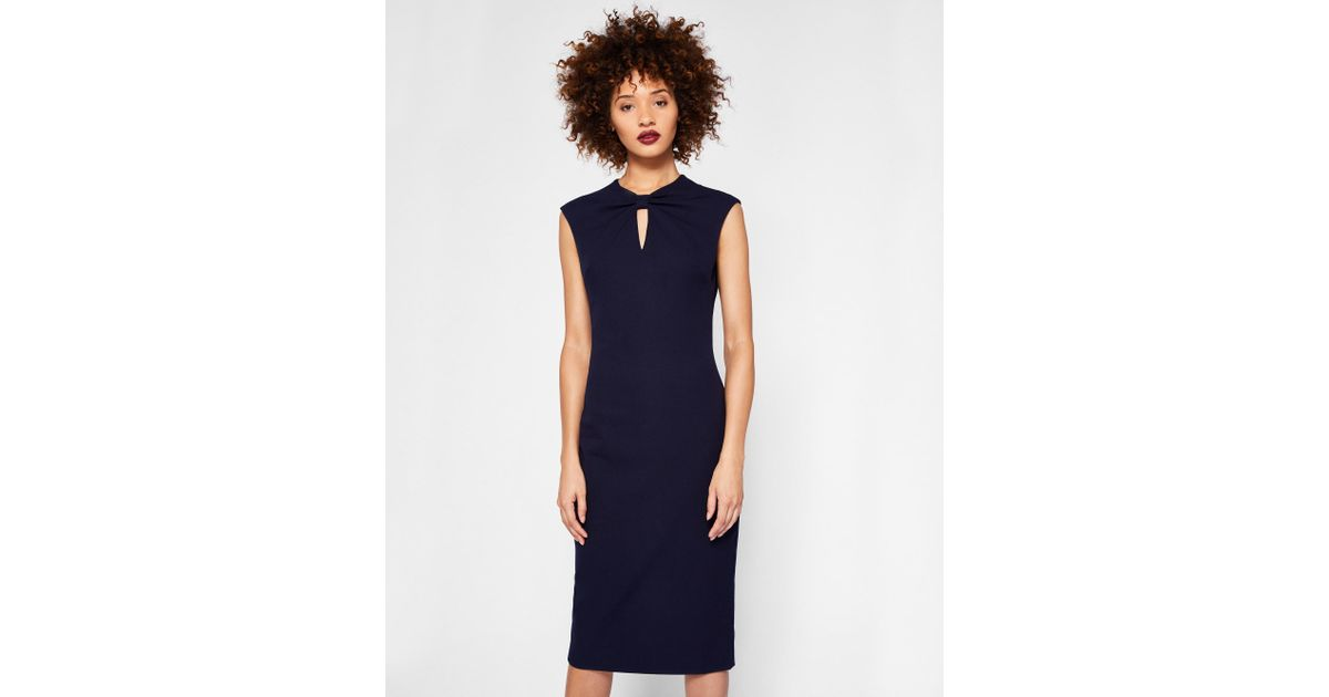 6d595234bbc3 Ted Baker Bow Neck Bodycon Dress in Blue - Lyst