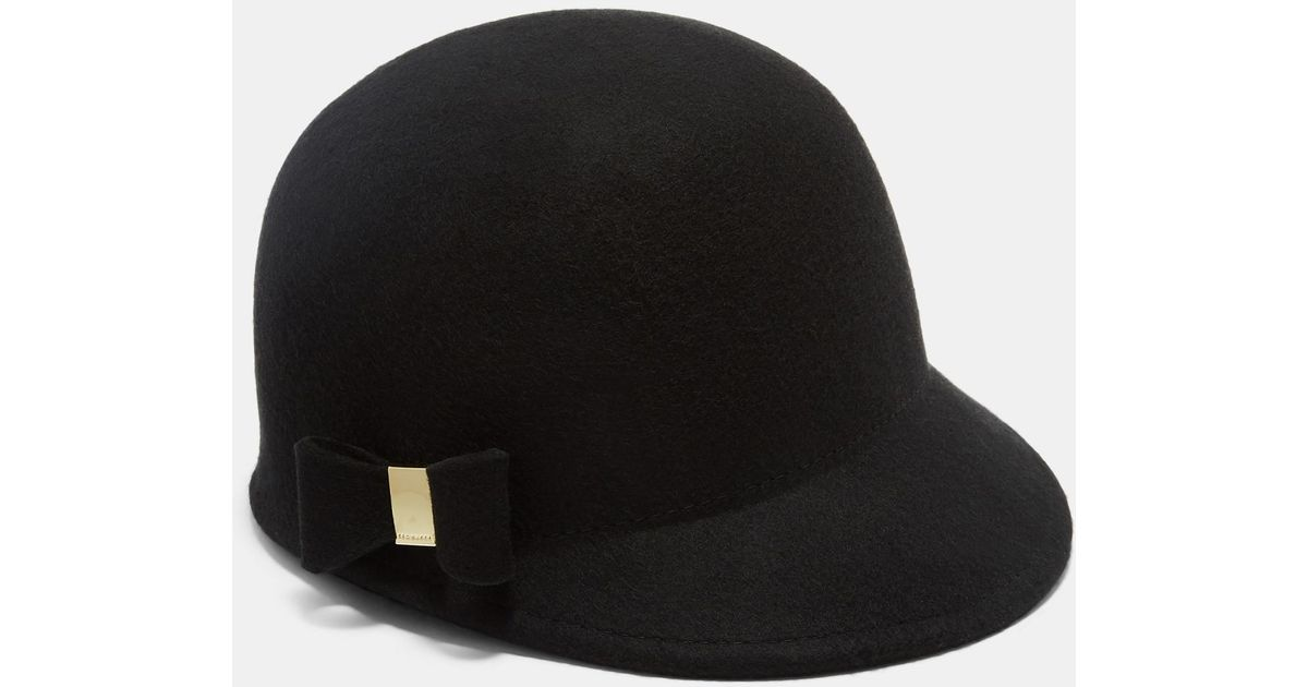 Ted Baker Bow Peak Hat in Black - Lyst 3f966f752f3